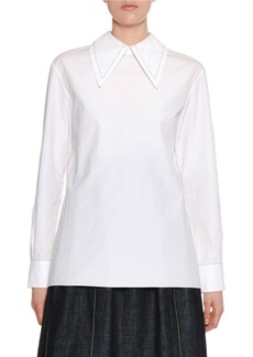 Marni Long-Sleeve Oversized-Collar Zip-Back Cotton Blouse