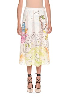 Marni Magdalena Suarez Collaboration Printed Cotton Voile Pleated Ankle Skirt