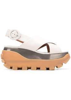 Marni crossover wedge sandals