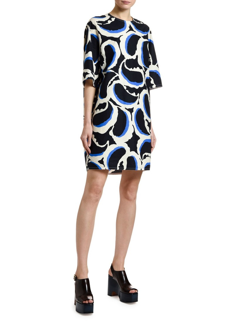 Marni 1/2-Sleeve Paisley Poplin Shift Dress