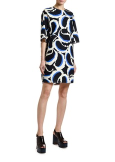 Marni 1/2-Sleeve Paisley Poplin Shift Dress