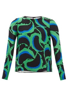 Marni Abstract-print crepe blouse