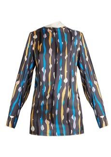 Marni Abstract-print silk satin-twill top