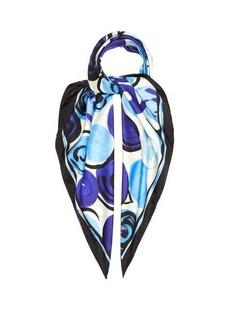 Marni Abstract rose-print silk-twill scarf