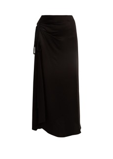 Marni Asymmetric ruched crepe de Chine skirt