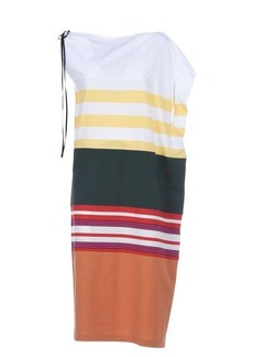 Marni Asymmetric striped cotton-poplin dress