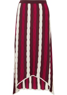 Marni Asymmetric striped wool maxi skirt