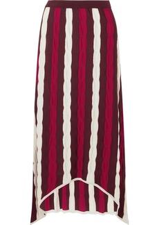 Asymmetric striped wool maxi skirt