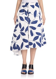 Marni Asymmetrical Leaf-Print Skirt