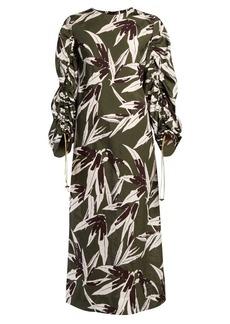 Marni Bamboo-print drawstring-sleeve midi dress