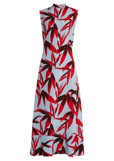 Marni Bamboo-print high-neck sleeveless twill dress