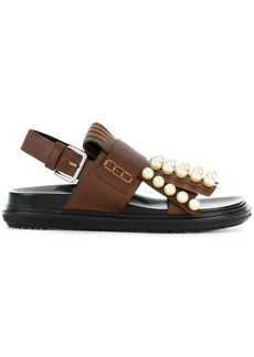 Marni beaded fringed sandals - Brown
