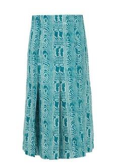 Marni Belted moiré-print silk-twill midi skirt