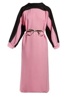 Marni Bi-colour belted cotton-blend dress