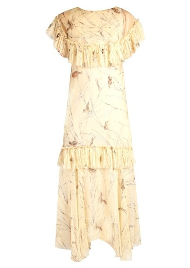 Marni Bird-print raw-edge ruffled silk dress
