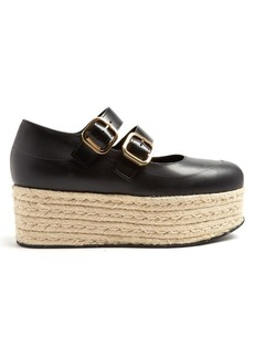 Marni Black leather espadrille flatform sandals