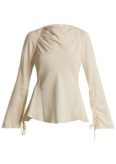 Marni Boat-neck satin-back crepe blouse