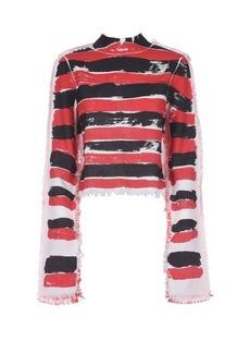 Marni Brushstroke-stripe canvas top