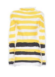 Marni Brushstroke-stripe frayed top