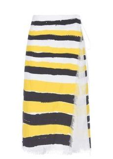 Marni Brushstroke stripe-print frayed-canvas wrap skirt