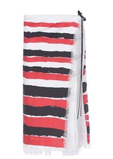 Marni Brushstroke-stripe frayed wrap midi skirt