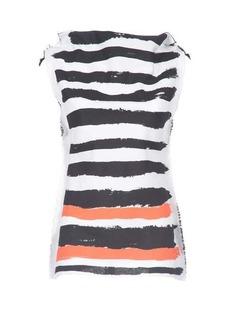 Marni Brushtstroke-stripe twill sleeveless top