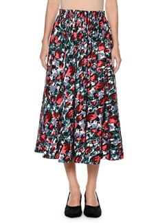 Calla Floral-Print Ankle-Length Cotton Poplin Skirt