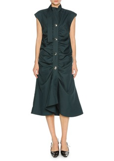 Marni Cap-Sleeve Gathered-Front Midi Dress