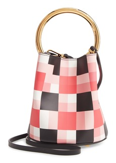 Marni Check Top Handle Leather Bucket Bag