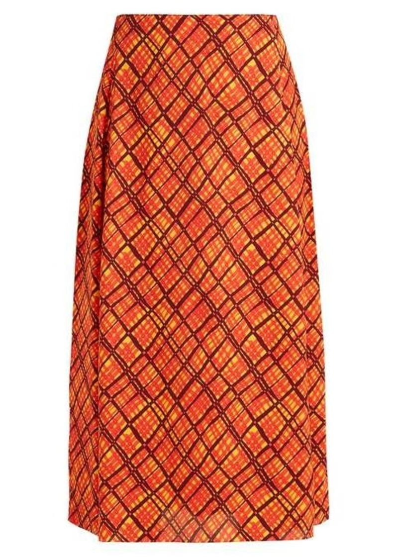 Marni Checked crepe midi skirt