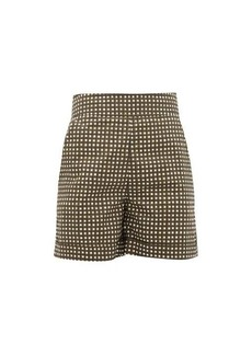 Marni Checked high-rise cotton shorts