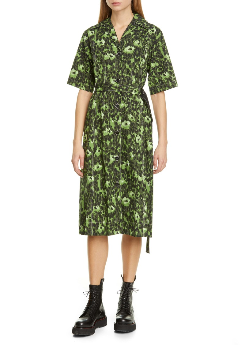 Marni Cheetah Camo Print Stretch Cotton Shirtdress