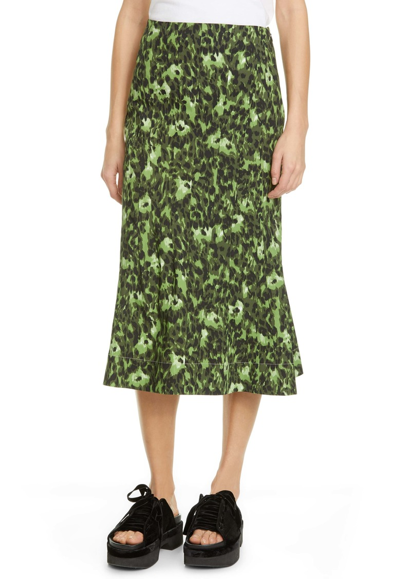 Marni Cheetah Camo Print Stretch Cotton Tulip Skirt