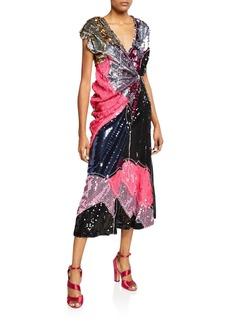 Marni Colorblock Sequin Cap-Sleeve Cocktail Dress