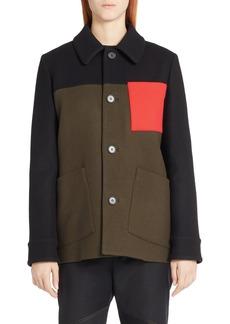 Marni Colorblock Wool Blend Felt Coat