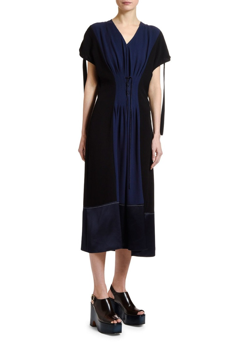 Marni Colorblocked Corset-Waist Dress