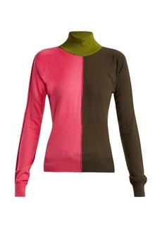 Marni Colour-block high-kneck wool-blend sweater