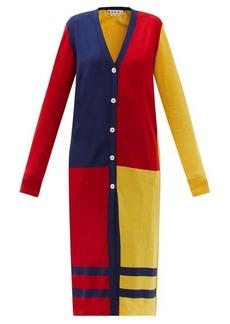 Marni Colour-block knitted longline cardigan