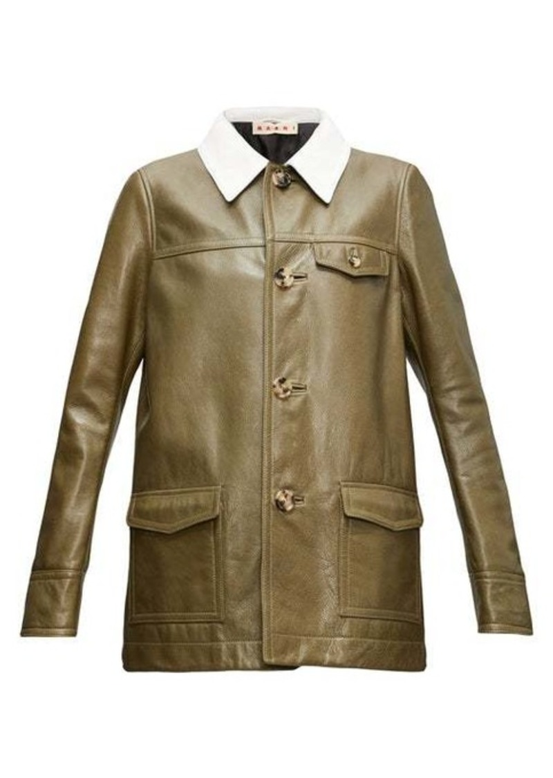 Marni Contrast-collar leather jacket