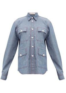 Marni Contrast-stitch chambray shirt