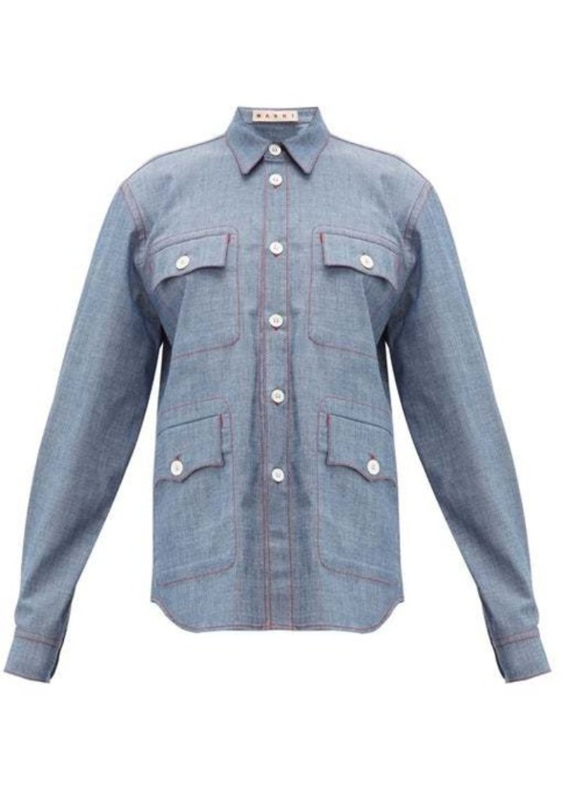 Marni Contrast-stitch chambray shirt