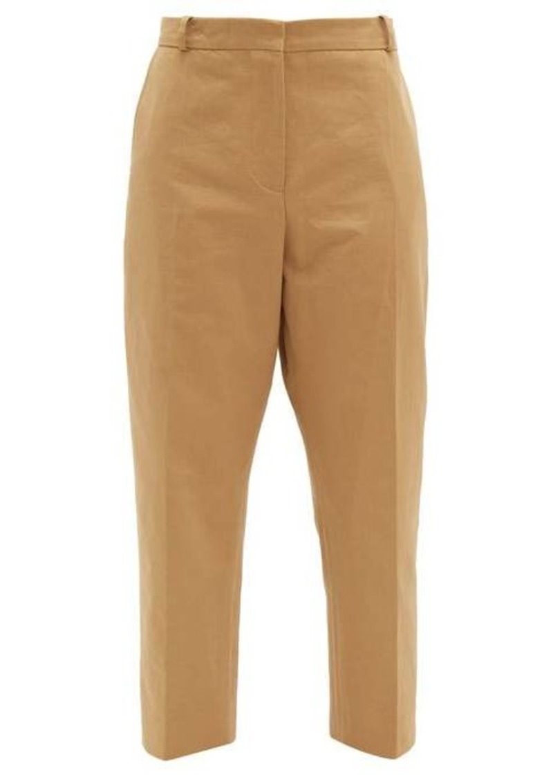 Marni Contrast-stitch cotton-blend cropped trousers