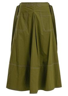 Marni Contrast-stitch cotton-poplin midi skirt