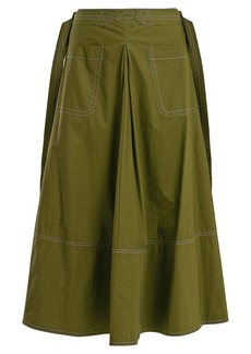 Marni Contrast-stitch cotton-poplin midi skirt
