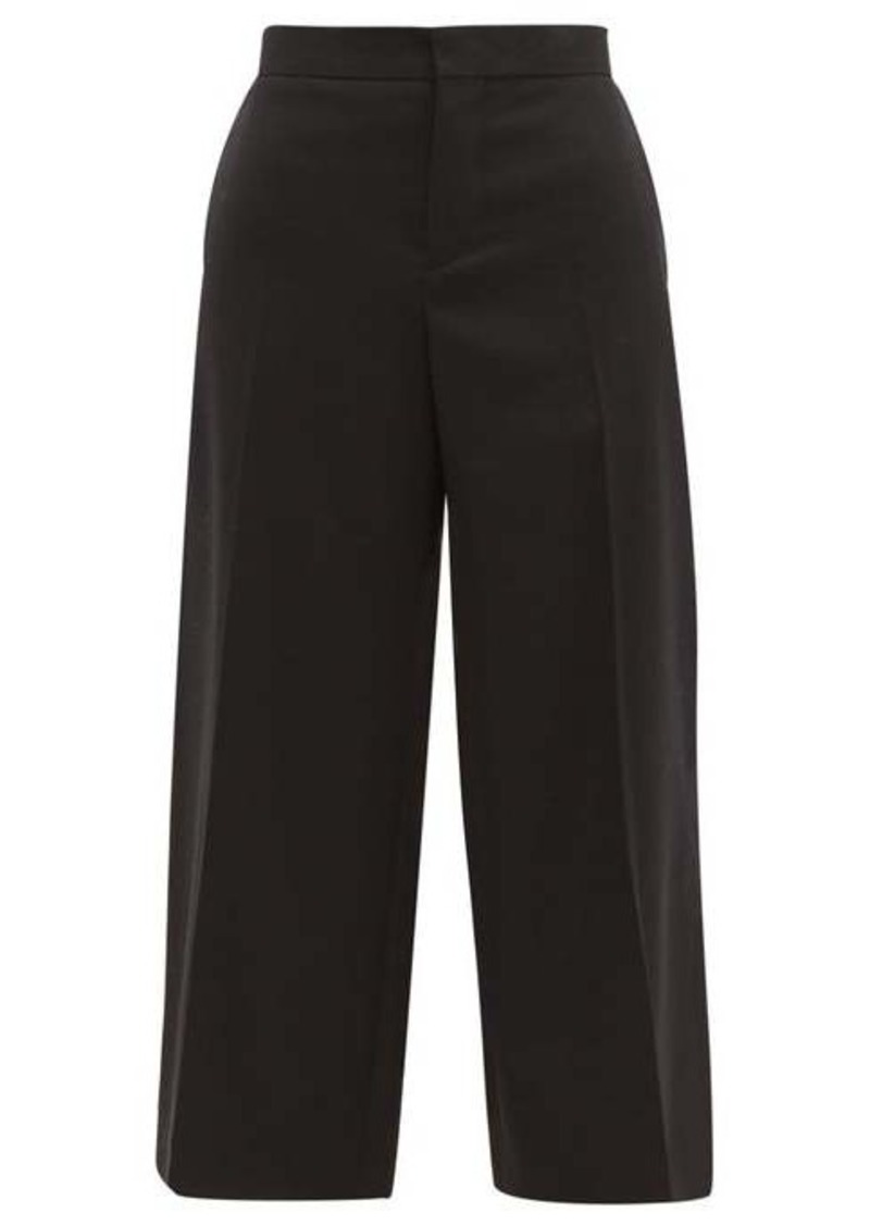 Marni Contrast-stitch cropped wool trousers