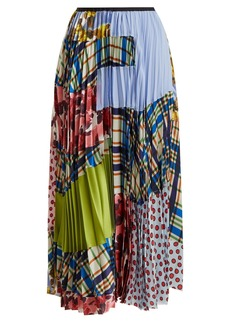 Marni Contrasting-print pleated silk-blend skirt