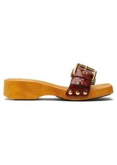 Marni Crocodile-effect leather clog mules