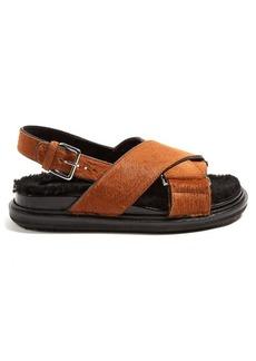 Marni Cross-strap calf-hair sandals