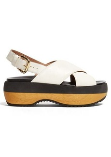 Marni Cross-strap leather flatform sandals