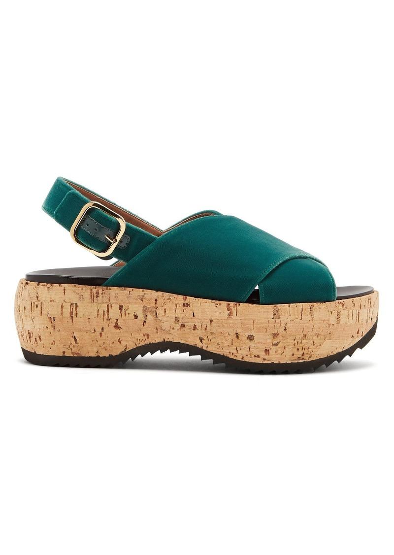 4aca5a6f497c Marni Marni Cross-strap slingback velvet flatform sandals